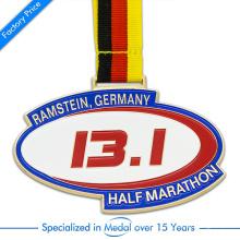 Medalla de mediano maratón de barniz para hornear personalizado de China de alta calidad en aleación de zinc