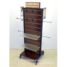 Garment Showroom Display Ideas 2-Way Wood Slatwall Acrylic Shelving Free Standing Clothing Gondola