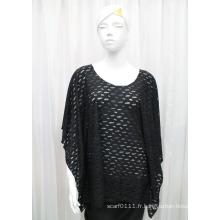 Chemise creuse de ressort tricoté par polyester de Madame de mode noire de maille (YKY2203)
