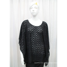 Lady Fashion Black Mesh Polyester Knitted Spring Hollow Shirt (YKY2203)