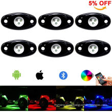 RGB LED Rock Light Kit 6pods LED Rock Lights Bluetooth 14 DIY Color 15 Turning Modes Timing Music Flashing LED Interior Wheel Neon Lights for off Road Jeep Truc
