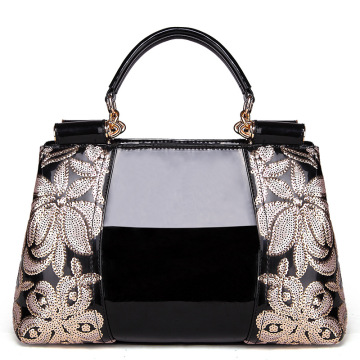 Black Tote Patent Leather Bags Flower Embroidery patch