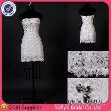 Charming beaded lace short mini wedding dress/bridesmaid dress