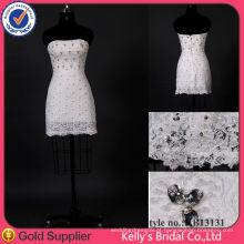 Encanto de rendas de renda curto mini vestido de noiva / vestido de dama de honra