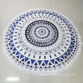 150cm diameter 200-300gsm 100% polyester printed round beach towel with tassels