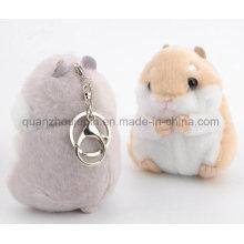 O luxuoso do luxuoso encheu a corrente do anel chave de Keychain do Keyring do brinquedo do hamster