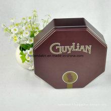 Boîte en étain pour emballage en chocolat personnalisé avec forme octogonale