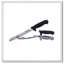 U398 Offset Bread Knife With Black Plastic Handle