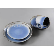 ceramic 16pcs hand-painting and reactive glaze dinner set