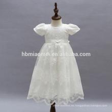 Vestido de tutú de manga corta en satén blanco para niñas de cumpleaños Vestidos de campana para niños en encaje con capucha de flor de encaje