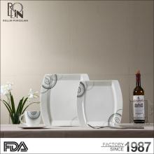 Wholesale high quality white porcelain square ceramic plate hotel buffet applique porcelain plates