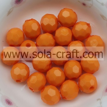 2014 Hot Sale Orange Color Faceted Opaque Acrylic Beads 4mm Perfect Round Shape Children Bead