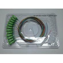 12 color de fibra óptica de 0,9 mm cable con conector SC / APC