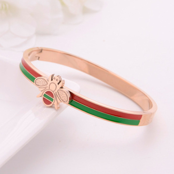 Gelang antik Enamel Rose Gold Stainless Steel Bee