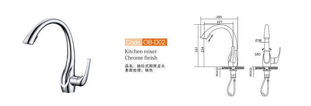 Chrome Polishes Kitchen Mixer Faucet Ob D02