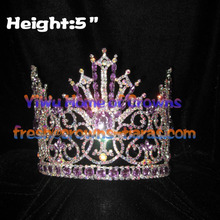 Crystal Queen Pageant Crowns With Purple Diamond