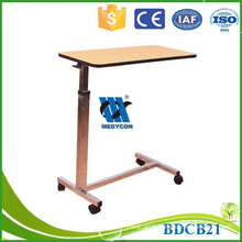 Adjustable over bed table hospital bedside tray table