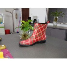 New Women's Rain Boots With Big Colored Grid Printing
