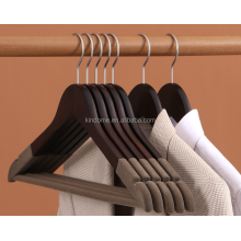 Curved mens wooden jacket hanger with logo printing