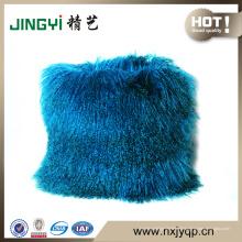 Gros tibétain mongol en peau de mouton fourrure coussin housse de coussin violet