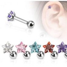 Star CZ Gem 316L Steel Eyebrow Barbell
