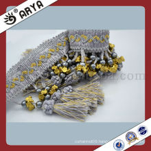 100% Polyester Tassel Fringe Bullion Curtain Decorative Tassel Trims Beaded Fabric Fringe