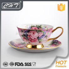 Erstaunliche Früchte Abziehbild dekorative Keramik Tasse und Untertasse mit Gold Hand gesetzt
