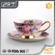 Vente chaude fine chêne os ordinaire design unique tasse à café et soucoupe