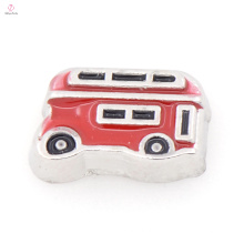 Neue Stil rot Vintage Bus Anhänger Charme, runde Schwimm Medaillon Charme