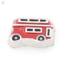 Novo estilo vermelho vintage ônibus pingente encantos, rodada encantos medalhão flutuante