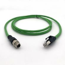 Ethernet industrial M12 codificado em X para cabo de comunicação RJ45