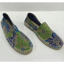 Vente en gros de chaussures d'imprimerie en jute de haute qualité en gros style espadrille