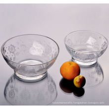 Tempered Glass Bowl with Flower Pattern Set of 2