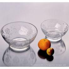 Закаленное стекло чаша с цветочным узором набор 2