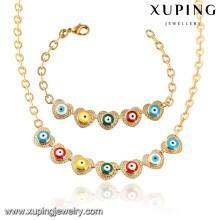 64021 Xuping мода позолоченные женщины ожерелье комплект ювелирных изделий