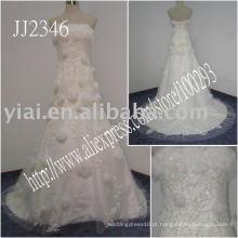 2011 drop shipping preço baixo frete grátis de alta qualidade rebordo real strapless laço vestido de baile laço vestido de noiva de uma linha JJ2346