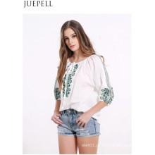 Verão novas mulheres cinta plissada camisa de manga bordada retro grandes jardas camisa solta t-shirt blusa