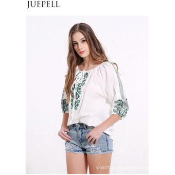 Camisa de manga larga plisada de la correa de verano de las mujeres bordadas grandes yardas flojas camiseta floja camiseta de la blusa