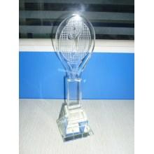 Trophée en cristal avec conception de badminton