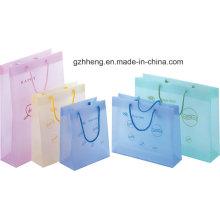 Moda promocional sacos de compras de plástico com corda alça (saco do presente)