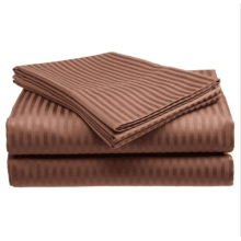Italienische gestreifte 4PC Queen Sheet Set Schokolade