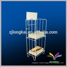Free standing metal library book rack shelving for magazine and newspaper