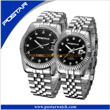 Full Stainless Steel Couple Lover Swiss Wrist Watch Day Date Quartz Watch