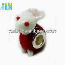4.5mm 925 argent placage core lampwork verre perles d'animaux