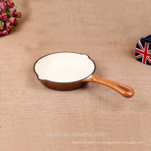 Глянцевая белая эмаль чугунная печь безопасная сковорода для гриля