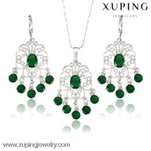 62869 New 2017 Rhinestone Jewelry african silver color earring pendant wedding jewelry set