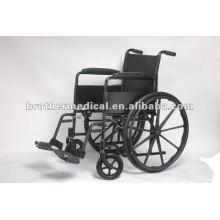 Cadeira de rodas manual de aço revestido a pó preto com roda mag