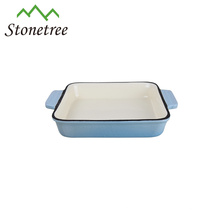 Plato para hornear de esmalte cuadrado de hierro fundido