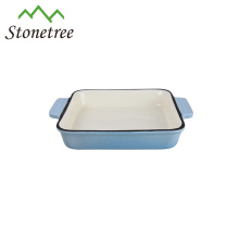 Square Enamel Baking Pan Cast Iron Roasting Dish
