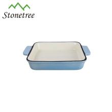 Square Enamel Baking Pan Cast Iron Roasting Dish